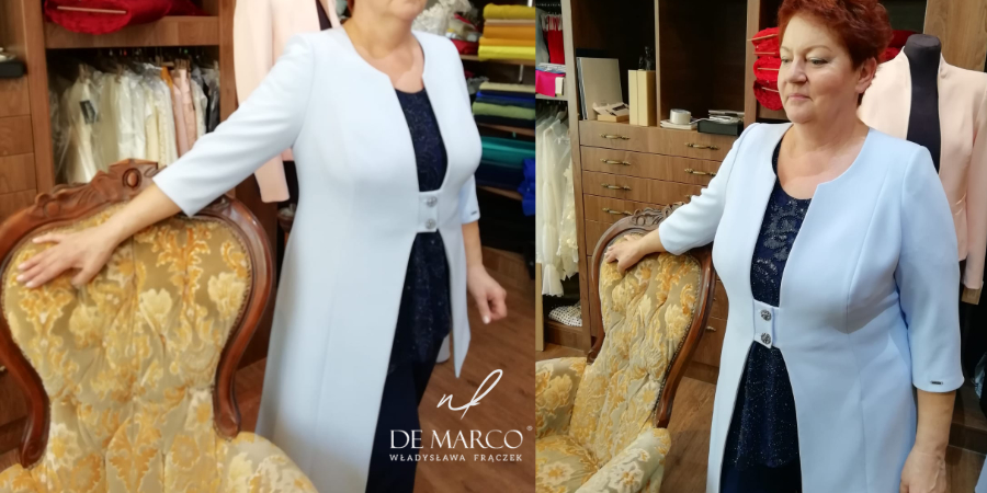 Luksusowa odzież damska dla dojrzałej kobiety po 40, 50, 60, 70, -tce. Asymetryczny płaszczyk ze spodniami na wesele dla mamy.