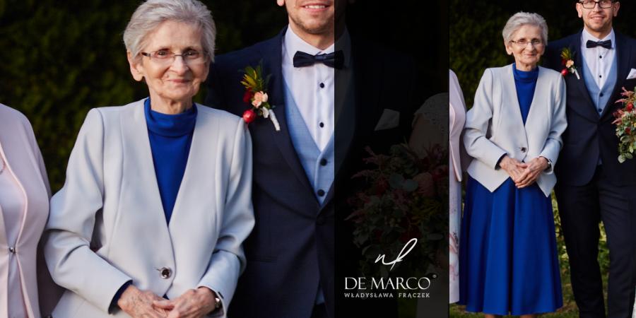 Komplet sukienka z żakietem dla starszej pani, Szycie na miarę w Atelier W. Frączeek, projektantki Agaty Dudy. Najpiękniejsza Babcia wesela.