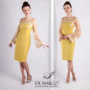 Musztardowo złota suknia dla mamy wesela. Sukienke szyjemy w karzdym rozmiarze. Sklep internetowy De Marco