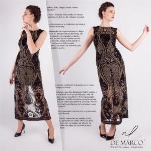 Ekskluzywna suknia wieczorowa z włoskiej tkaniny. Tkana z koralami cekinami, złotą nitką. Szycie na miarę u projektantki pierwszej damy.