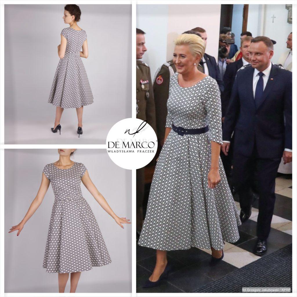Pierwsza Dama Polski Agata Kornhauser-Duda na obchodach Święta Wojska Polskiego w Katowicach, wystąpiła w sukni firmy De Marco.