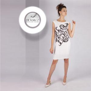 Ołowkowa sukienka na wesele. Czrno biała kreacja dla mamy pana młodego lub pani młodej szyta na miarę u projektantki W. Frączek.