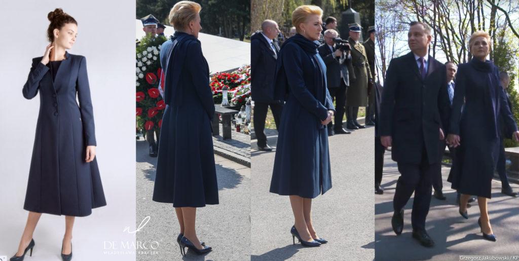 Elegancki płaszcz do połowy łydki szyty na miarę w Atelier W. Frączek. Agat Duda między innymi ubiera się w Salonie Mody De Marco we Frydrychowicach.