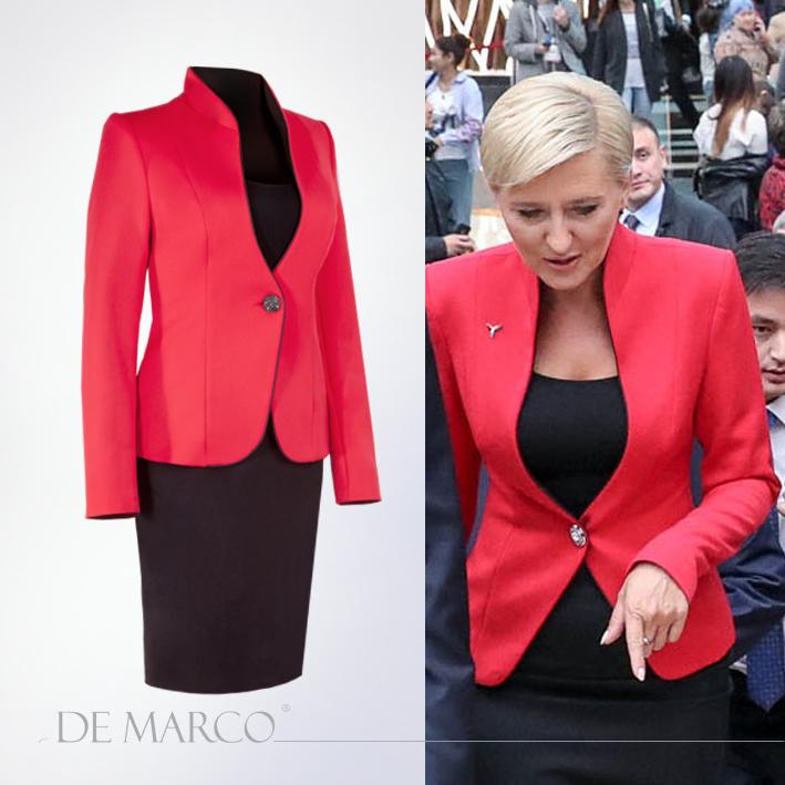 Zastanawiasz się, gdzie ubiera się Pierwsza Dama? Zobacz, jak wygląda Agata Duda, w stylizacji z Frydrychowic. Elegancki wizytowy kostium damski szyty na miarę w De Marco.