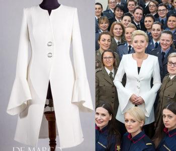 Płaszcz do sukienki w stylu Agaty Dudy. 10 najlepszych stylizacji  które wybrała Pierwsza Dama.