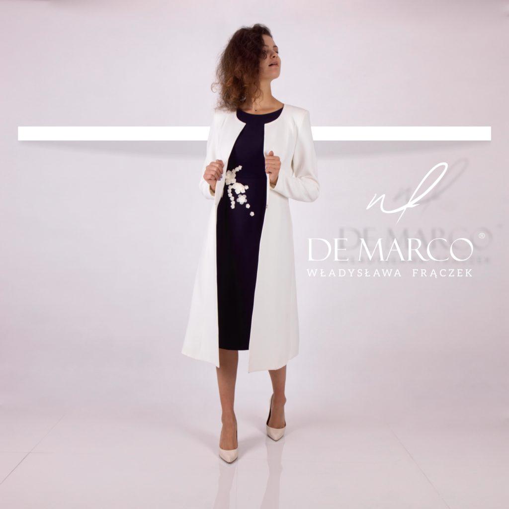 Wizytowy komplet płaszczyk z sukienką dla mamy wesela. Sukienki na wesele od projektanta z De Marco.