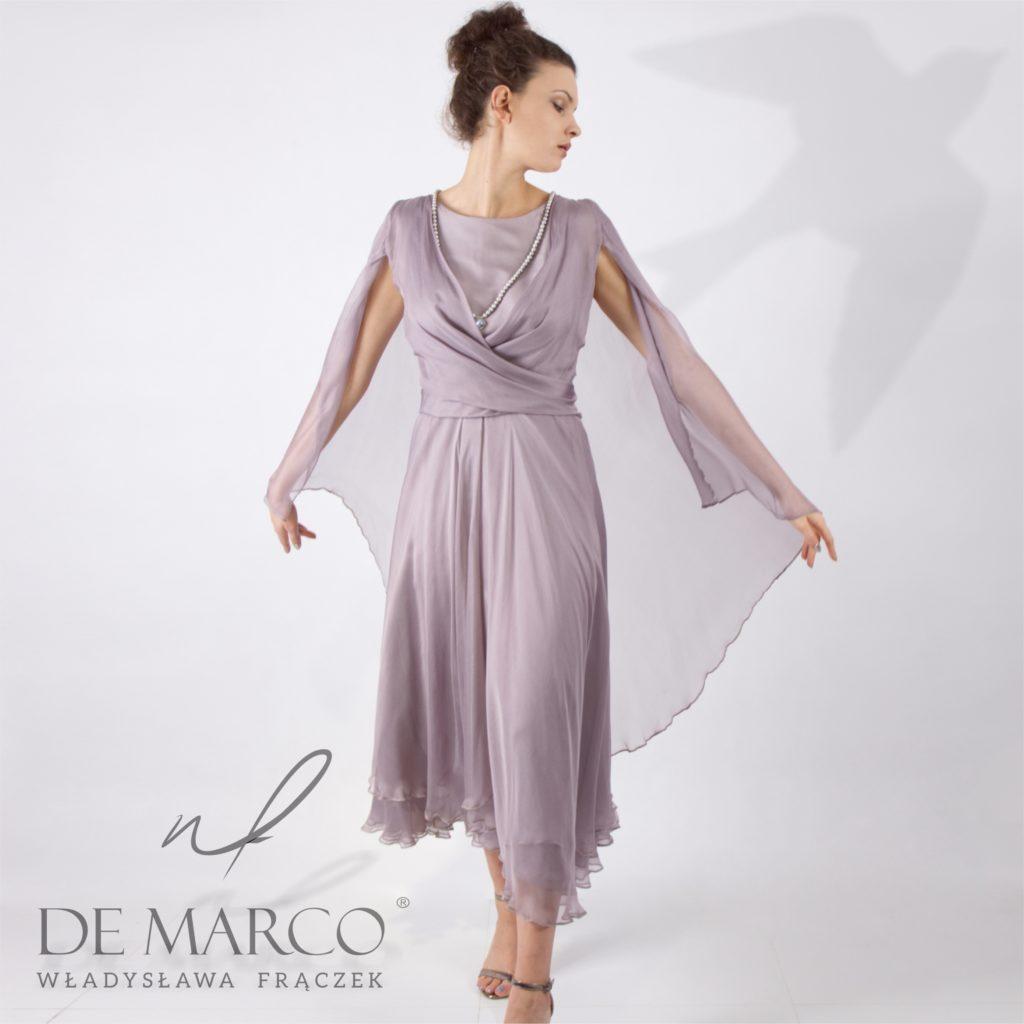 Jedwabna suknia balowa szyta na miarę w Salonie Mody De Marco Frydrychowice koło Wadowic pod Krakowem.