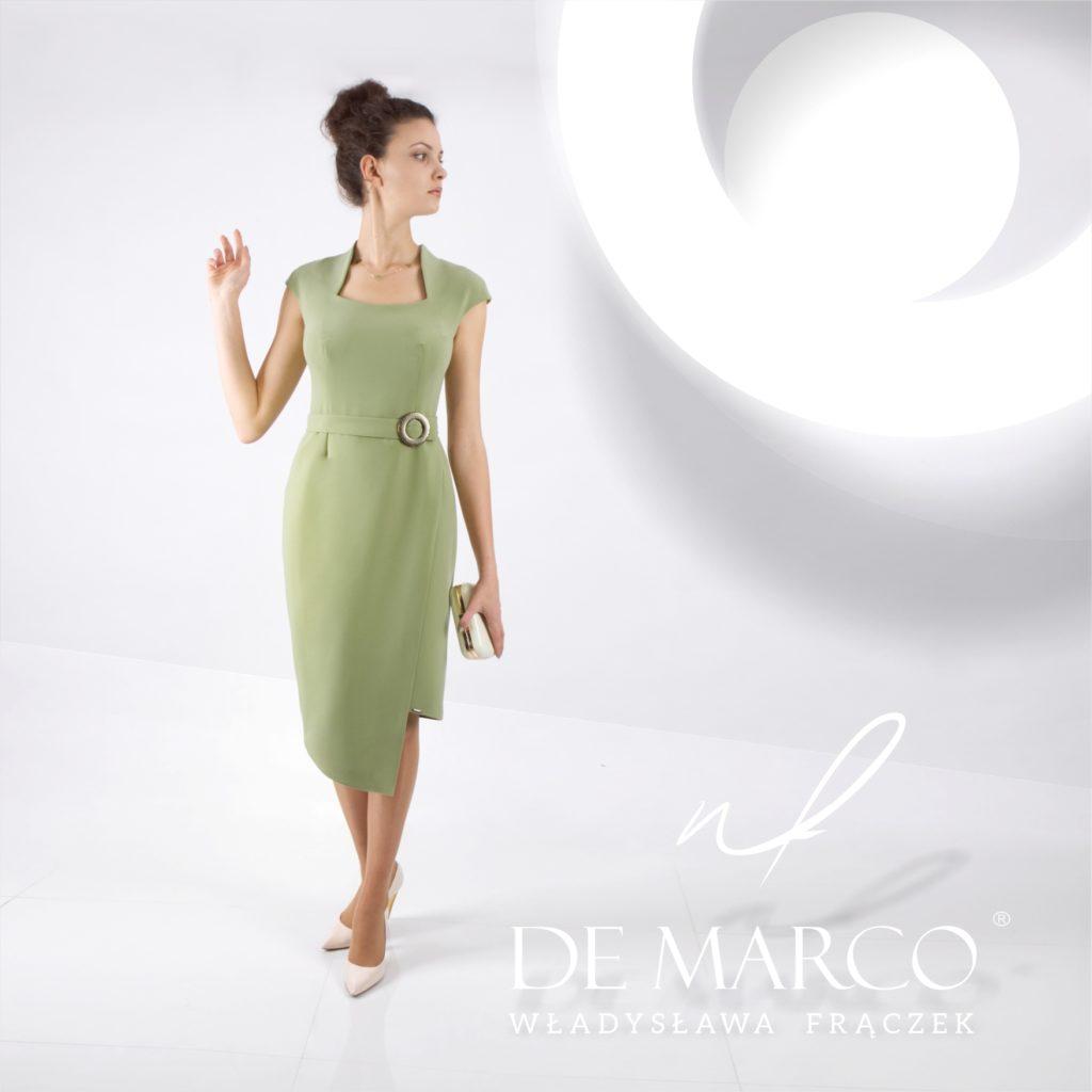 Zielona wizytowa sukienka na wesele dla mamy. Szycie na miarę kreacji u projektanta. Sklep internetowy De Marco zaprasza matki wesela na kawę i stylizację :)