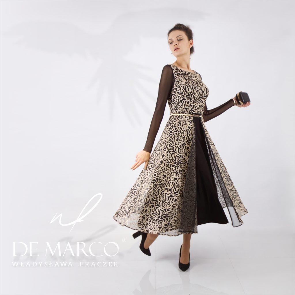 Złota czarna ekskluzywna suknia balowa dla mamy wesela. Szycie na miarę w sklepie projektanta mody.
