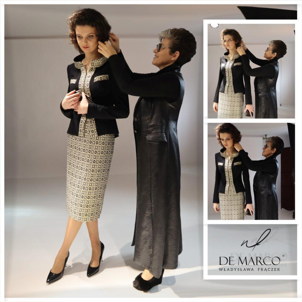 Eleganckie wizytowe garsonki i kostiumy damskie szyte na miarę w Atelier W. Frączek. Salon Mody  z Frydrychowiec. De Marco ekskluzywna odzież damska