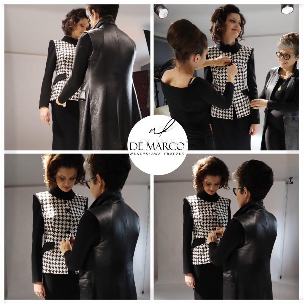 czarno biała garsonka biznesowa De Marco