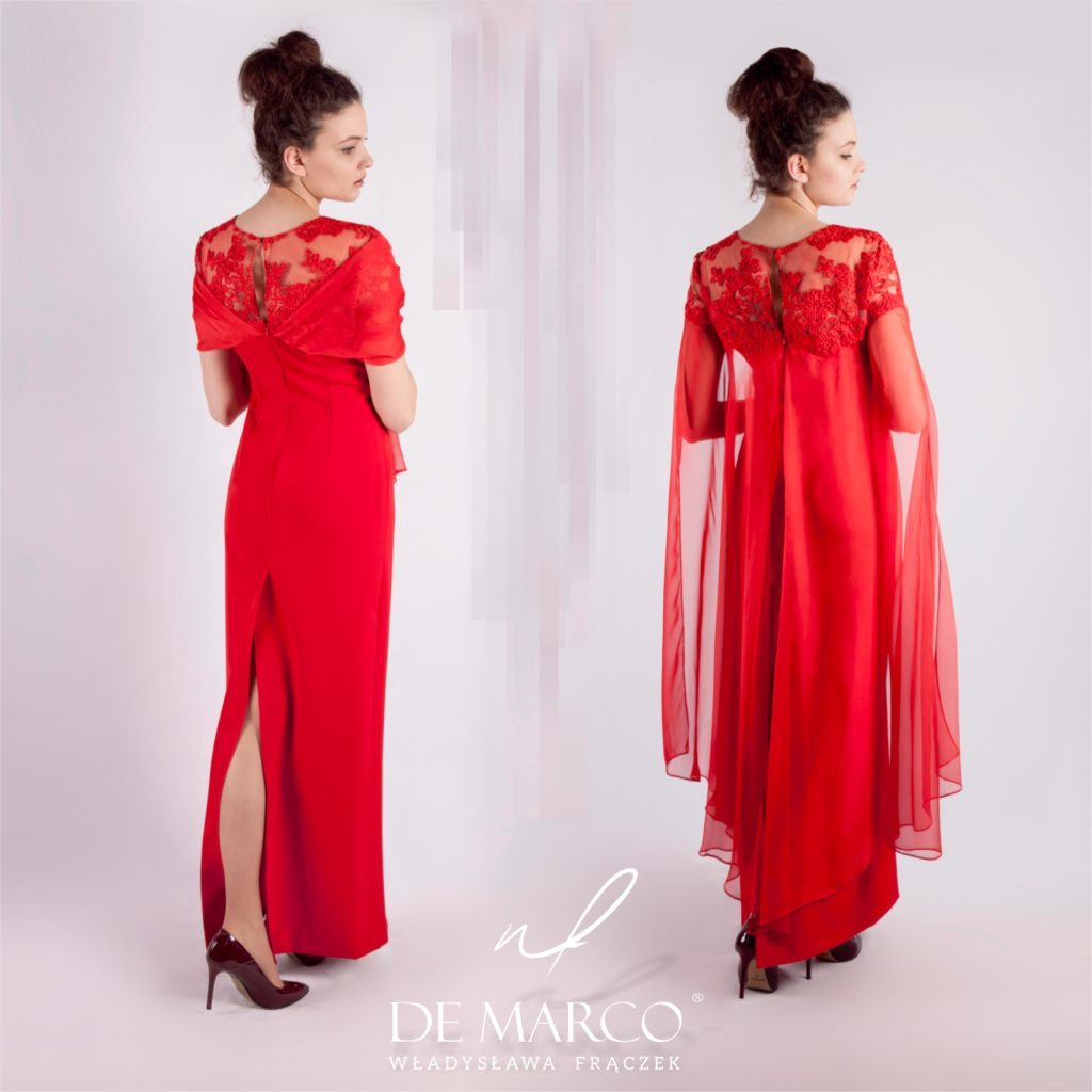 Długa suknia wieczorowa dla matki wesela. Szycie na miarę w De Marco. Ekskluzywne sukienki na wesele można zamówieć w sklepie on-line lub w Salonie Mody De Marco we Frydrychowicach