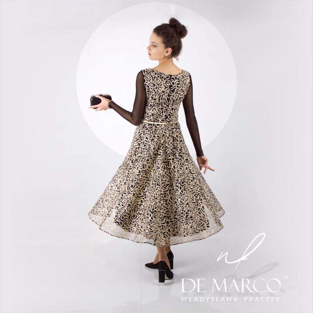 Modne suknie na bal dla dojrzałej pani. Szycie na miarę w Atelier W. Frączek. Salon Mody De Marco. Złoto czarna sukienka na wytworny bal charytatywny.