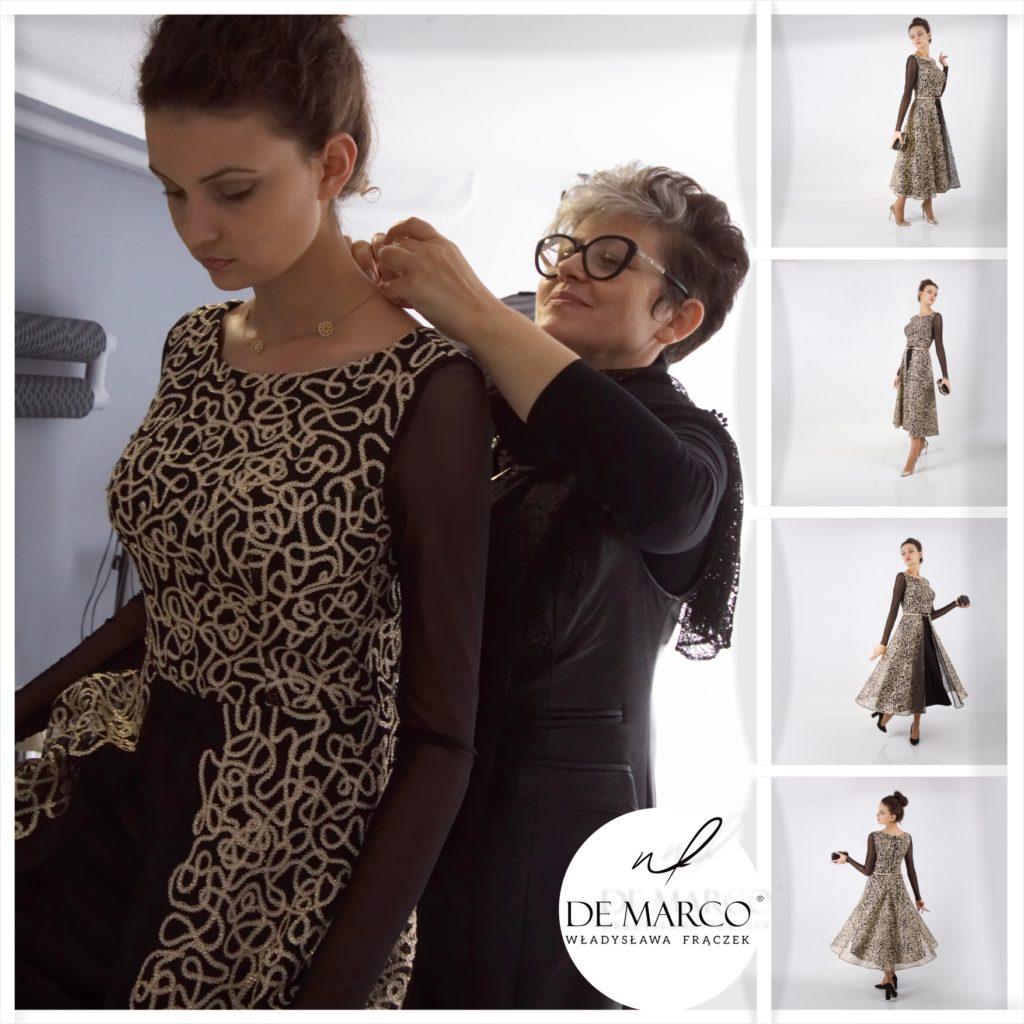 Sukienka ECHO to czarno złota kreacja wieczorowa. Najpiękniejsze suknie wieczorowe i balowe od projektantki ubrań Pierwszej Damy Agaty Dudy.