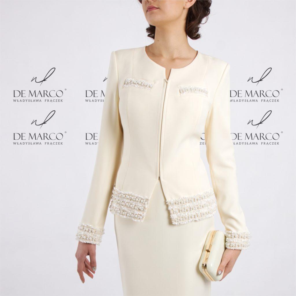 Elegancki kostium damski. Klasyczna garsonka Chanel w interpretacji De Marco