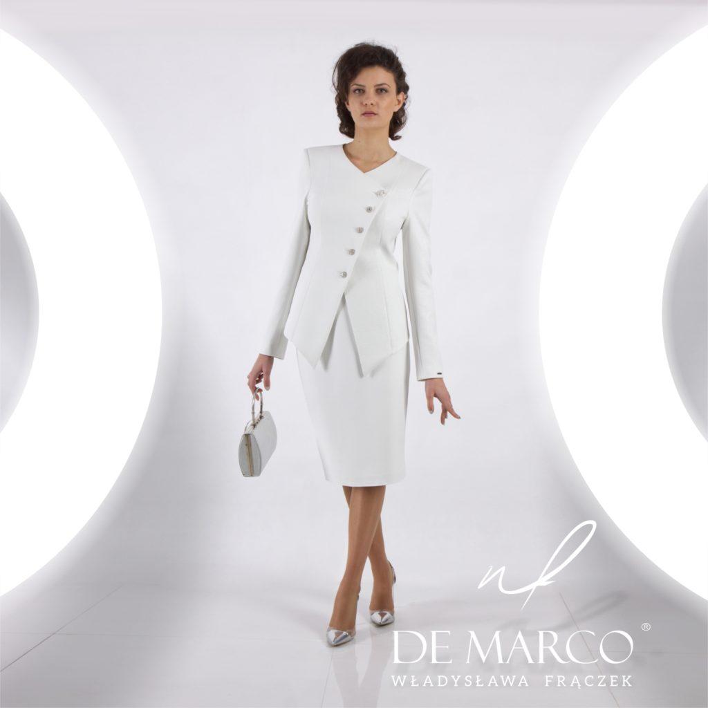 Najmodniejsze wizytowe kostiumy damskie od projektantki ubrań Pierwszej Damy Agaty Dudy.
