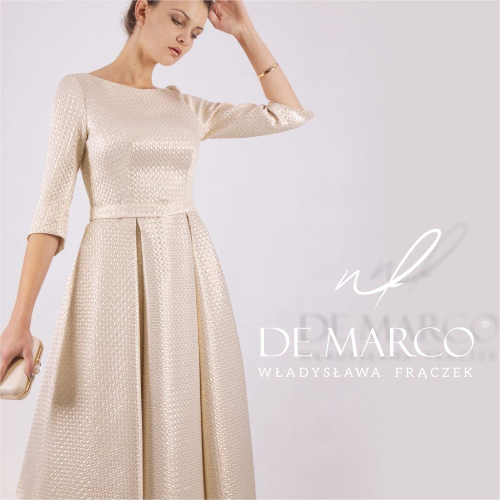 Gdzie można założyć złotą suknie do połowy łydki? Porady stylistki i projektantki W. Frączek.