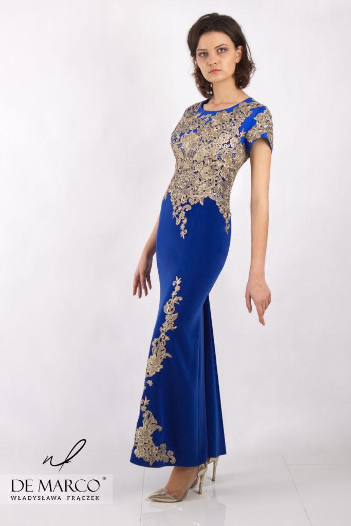 Długa suknia wieczorowa dla mamy wesela. Kreacja w stylu królewskim. Salon Mody De Marco
