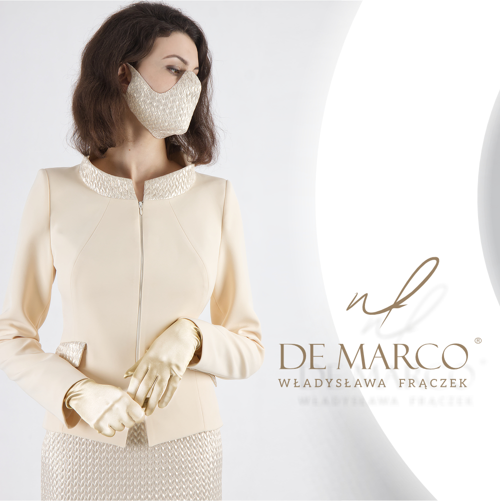 Luksysowe maski w komplecie do wizytowych garsonek z De Marco. Sklep internetowy z eleganckimi ubraniami dla kobiet.