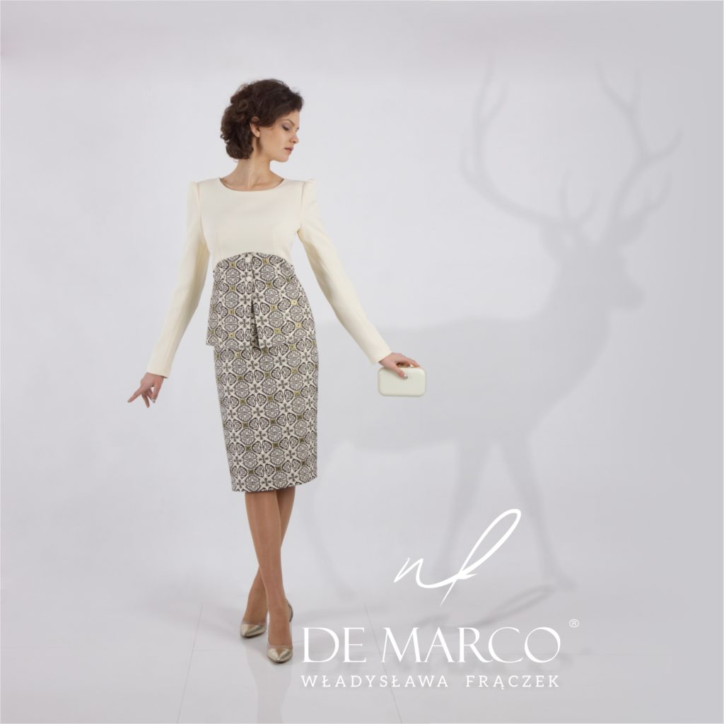 Ekskluzywna garsonka na wesele i na komunię dla mamy, Salon Mody De Marco szyyje eksluzywną odzież damską w każdym rozmiarze.
