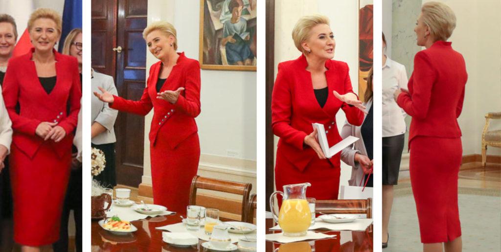 Dyplomacja a stylizacja. Nowoczesne garsonki i kostiumy damskie szyte na miarę u projektantki Pierwszej Damy Agaty Dudy.