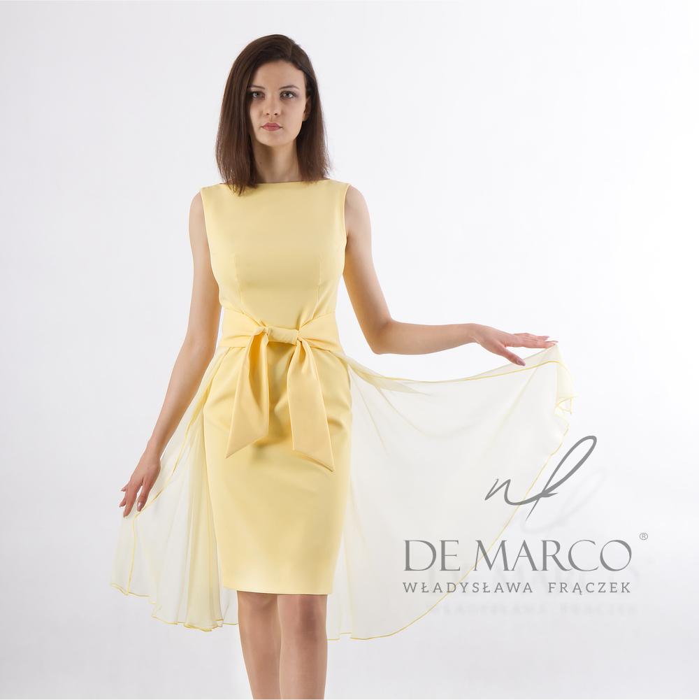 Żółta sukienka na wesele szyta na miarę w De Marco Letnie stylizacje. Sukienka na wesele latem. Co założyć na wesele w sierpniu. Sukienki na wesele.