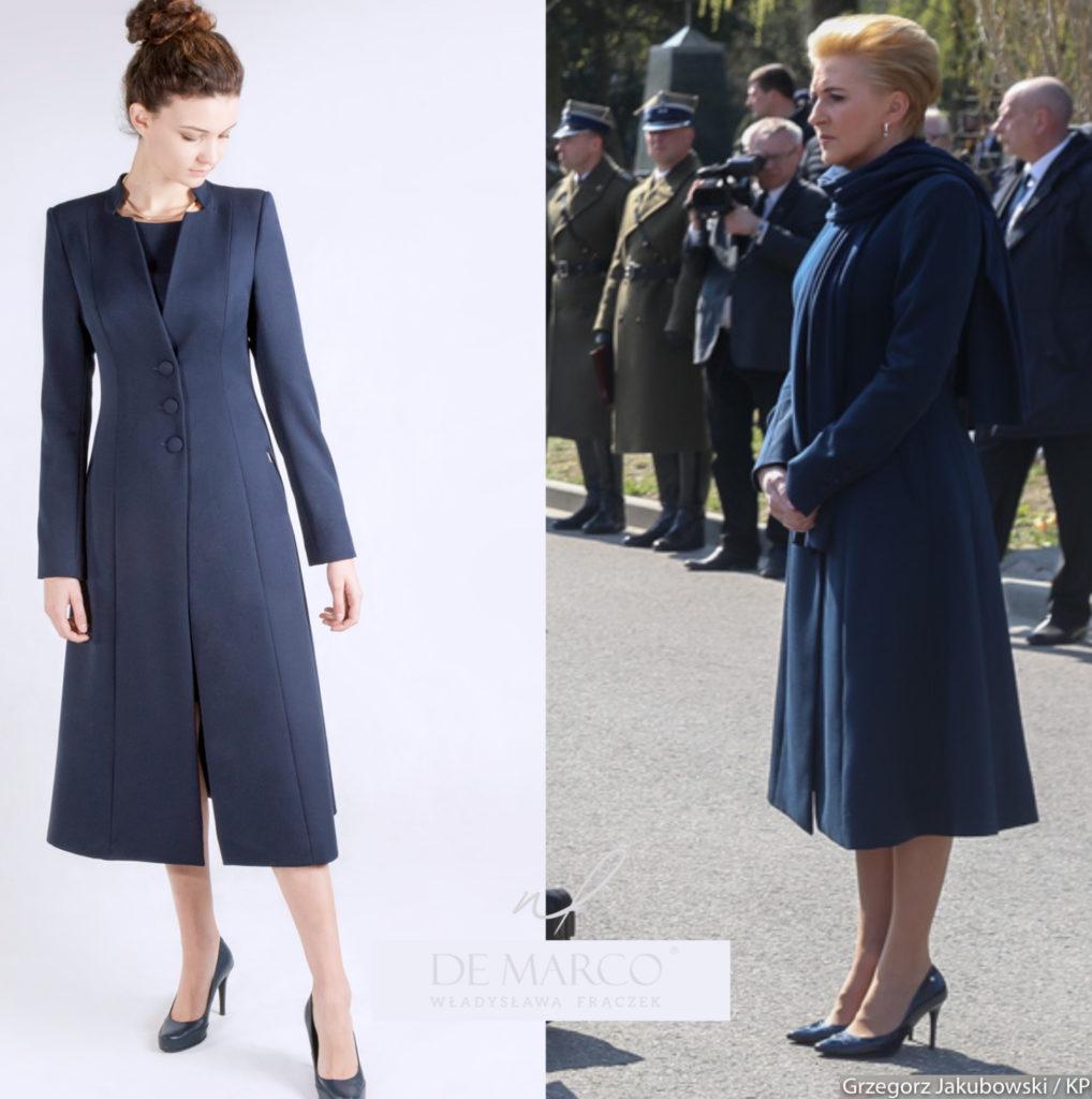 Modny płaszczyk do sukienki, stylizacja pierwszej damy Agaty Dudy.