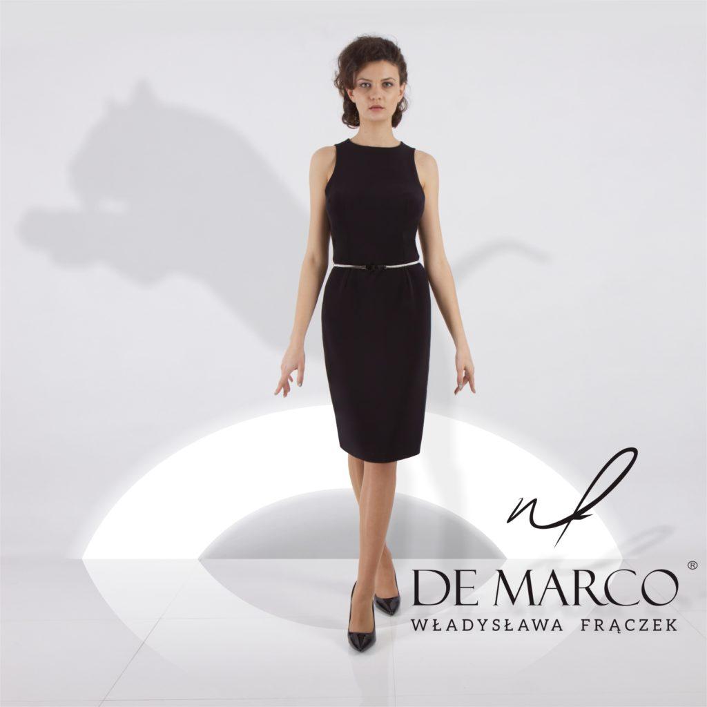 Elegancka mała czarna sukienka dla dojrzałej kobiety. Sklep internetowy z ekskluzywną odzieżą De Marco