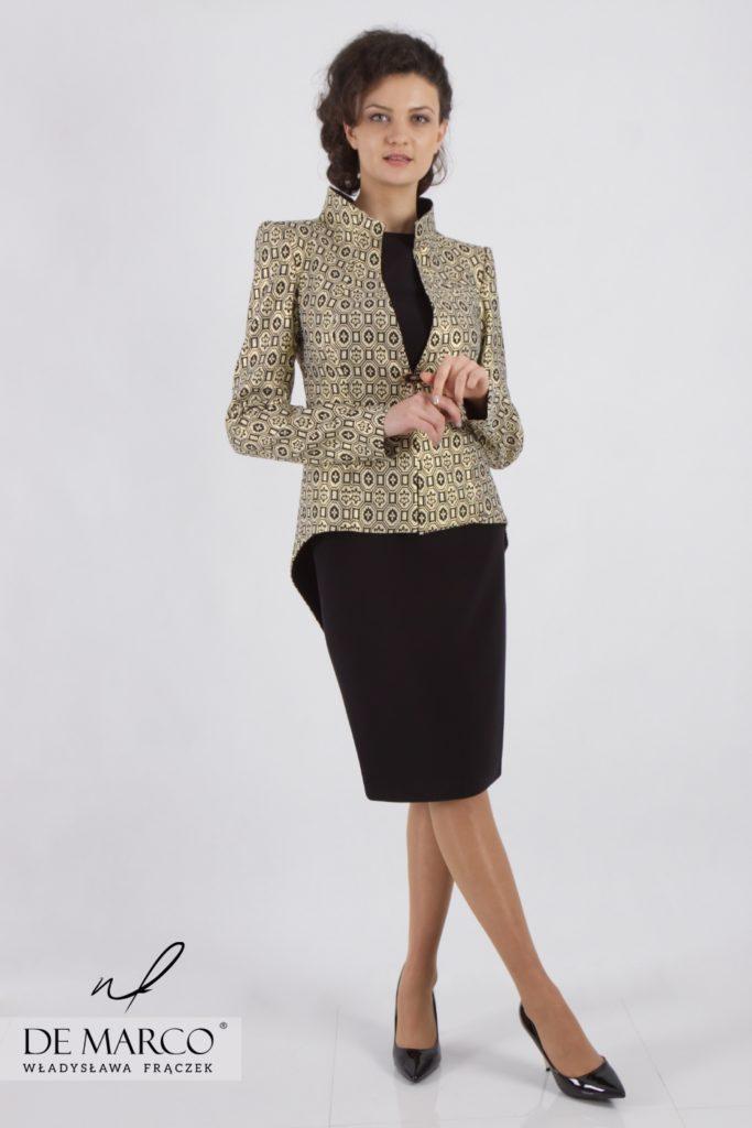 Elegancki komplet dla 40 latki, 50 latki, 60 latki. Luksusowe żakiety i sukienki z De Marco
