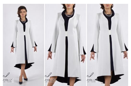 Śmietanowy płaszcz do sukni. Salon Mody De Marco