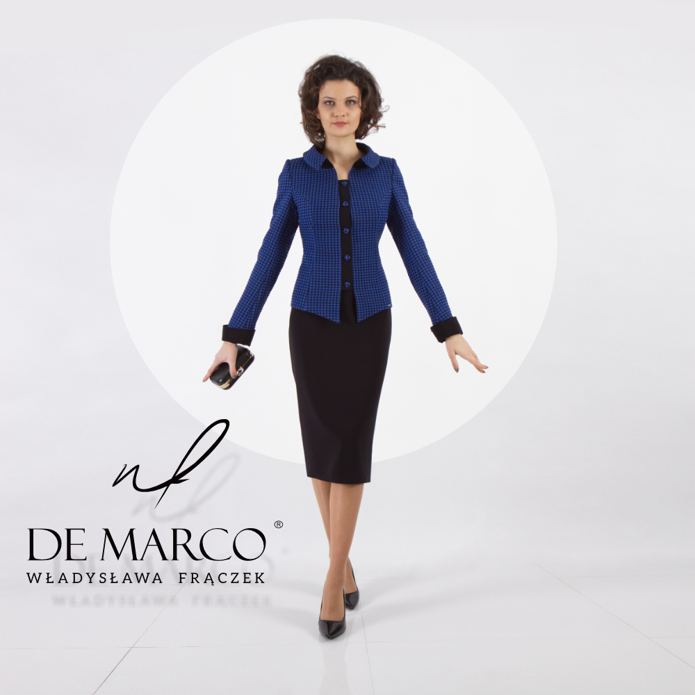 Ubrania biznesowe damskie, garsonki i kostiumy od projektantki z De Marco