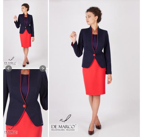 Granatowo czerwony kostium damski żakiet ze spódnicą do pracy.