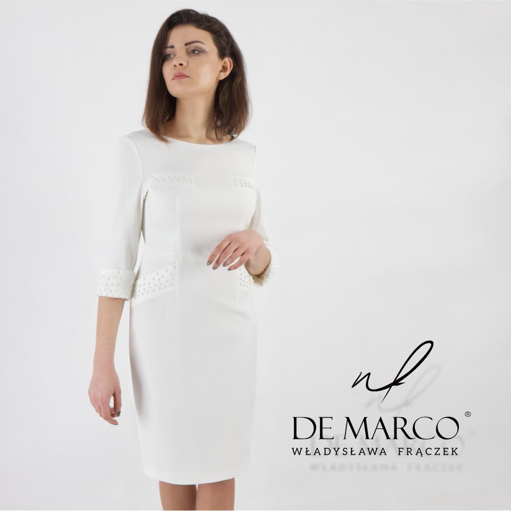 De Marco biała sukienka na spotkanie