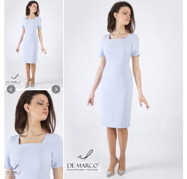 Błękitna sukienka wizytowa
