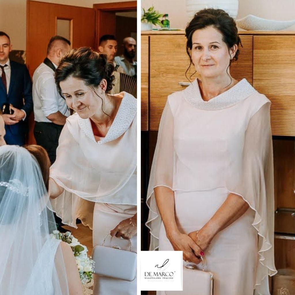 Ekskluzywne sukienki na wesele szyte na miarę, na zdjęciu SzP. M. Banaś mama wesela